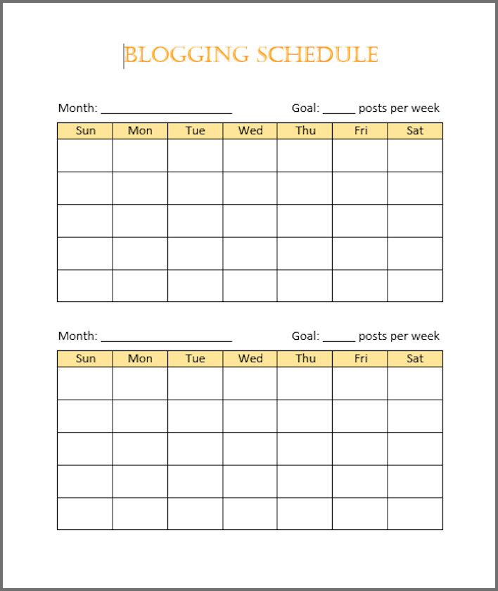 A free blogging schedule - covers 2 months but print out six and you'll have a blogging schedule for the entire year. Be sure to type in date numbers before printing.