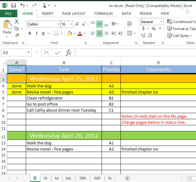 Task List Spreadsheet Demirediffusion