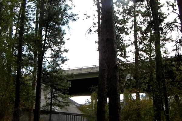 The freeway runs past Treaty Rock - too close!