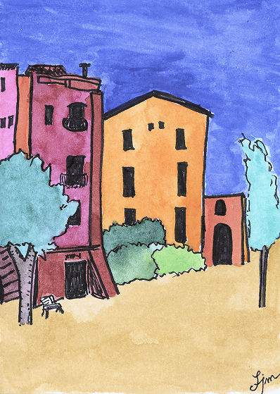 Buildings in Spain; sketchbook watercolor by Linda Jo Martin